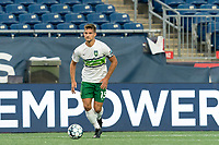 FOXBOROUGH, MA - AUGUST 26: Brandon Fricke #15 of Greenville Triumph SC brings the ball forward during a game between Greenville Triumph SC and New England Revolution II at Gillette Stadium on August 26, 2020 in Foxborough, Massachusetts.