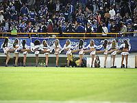 """BOGOTA - COLOMBIA -16-02-2013: Porristas de Millonarios animan a su equipo durante  partido por la Liga de Postobon I en el estadio Nemesio Camacho """"El Campín"""" en la ciudad de Bogotá, febrero 16, 2013. (Foto: VizzorImage / Luis Ramírez / Staff). Cheerleaders of Millonarios, cheer their team during a match for the Postobon I League at the Nemesio Camacho  ?El Campin? stadium in Bogota city, on February 16, 2013, (Photo: VizzorImage / Luis Ramírez / Staff)."""
