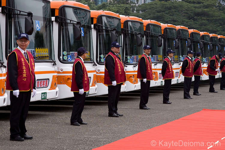A rown of new buses in front of the Sun Yat-Sen Memorial Hall, Taipei, Taiwan