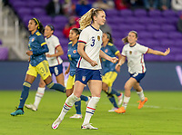ORLANDO, FL - JANUARY 18: Samantha Mewis #3 of the USWNT celebrates during a game between Colombia and USWNT at Exploria Stadium on January 18, 2021 in Orlando, Florida.