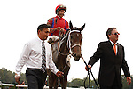 Willy Beamin with Alan Garcia up(red and blue silks) wins the Kings Bishop Stakes Stakes(G1). Saratoga Race Course, Saratoga Springs, New York. 08-25-2012.  Arron Haggart/Eclipse Sportswire