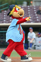 Inland Empire 66ers mascot Bernie before a game against the Stockton Ports at San Manuel Stadium on June 28, 2015 in San Bernardino, California. Stockton defeated Inland Empire, 4-1. (Larry Goren/Four Seam Images)