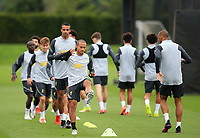 14th September 2021: The  AXA Training Centre, Kirkby, Knowsley, Merseyside, England: Liverpool FC training ahead of Champions League game versus AC Milan on 15th September: Thiago Alcantara of Liverpool warms up with his team mates