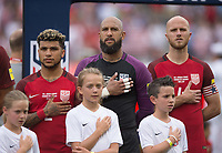 Commerce City, CO - Thursday June 08, 2017: DeAndre Yedlin, Tim Howard, Michael Bradley during a 2018 FIFA World Cup Qualifying Final Round match between the men's national teams of the United States (USA) and Trinidad and Tobago (TRI) at Dick's Sporting Goods Park.