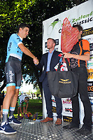 Dylan Newberry (Mobius Future Racing) is presented with the King Of The Mountain jersey by Labour MP Kieran McAnulty after stage three of the 2018 NZ Cycle Classic UCI Oceania Tour (Masterton to Martinborough) in Wairarapa, New Zealand on Friday, 19 January 2018. Photo: Dave Lintott / lintottphoto.co.nz