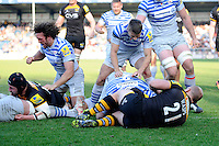 Jamie George of Saracens scores a late try during the Aviva Premiership match between London Wasps and Saracens at Adams Park on Saturday 29th March 2014 (Photo by Rob Munro)