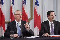 Montreal (Qc) CANADA - November 30 201 File Photo - Montreal city Budget -<br /> Gerald Tremblay, Mayor (L), Michael Applebaum (R) - Michael Applebaum is one of the possible replacement of Mayor Gerald Tremblay who resigned November 5, 2012.