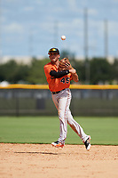 Baltimore Orioles second baseman Alexis Torres (45) throws to first base during an Instructional League game against the New York Yankees on September 23, 2017 at the Yankees Minor League Complex in Tampa, Florida.  (Mike Janes/Four Seam Images)