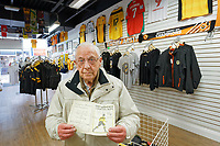 Pictured: A match programme for a 1946 game between Newport County and Manchester City owned by 89 year old David Sims in Newport, Wales, UK. Thursday 14 February 209<br /> Re: The city of Newport is preparing to host the FA Cup match between Newport County and Manchester City at Rodney Parade, Newport, Wales, UK.