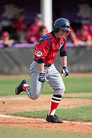 Jesse Uttendorfer (2) of the NJIT Highlanders hustles down the first base line against the High Point Panthers during game one of a double-header at Williard Stadium on February 18, 2017 in High Point, North Carolina.  The Panthers defeated the Highlanders 11-0.  (Brian Westerholt/Four Seam Images)