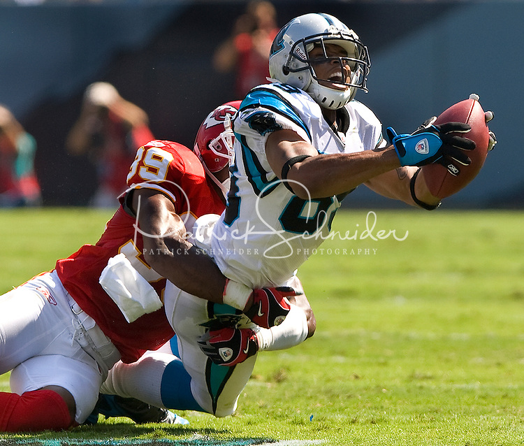 Carolina Panthers wide receiver Steve Smith (89) makes a catch against Kansas City Chiefs cornerback Brandon Carr (39) during a NFL football game at Bank of America Stadium in Charlotte, NC.