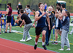OXFORD, CT 050421JS17—Oxford's Joe Mullen finished first in the 400 meter run during their NVL track meet with Sacred Heart and Seymour Tuesday at Oxford High School. <br /> Jim Shannon Republican American
