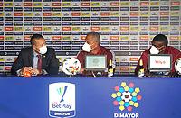 BOGOTÁ - COLOMBIA, 19-06-2021:  Rueda de prensa previo al encuentro entre  Millonarios F. C. y Deportes Tolima por la final vuelta como parte de la Liga BetPlay DIMAYOR I 2021 en la ciudad de Bogotá /  Press conference prior  the second leg final match between  Millonarios F.C.y Deportes Tolima as part of BetPlay DIMAYOR I 2021 League in Bogota city. Photo: VizzorImage / Daniel Garzon / Cont