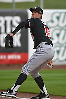 Zach Lee (18) of the Albuquerque Isotopes prior to the game against the Salt Lake Bees at Smith's Ballpark on April 21, 2014 in Salt Lake City, Utah.  (Stephen Smith/Four Seam Images)