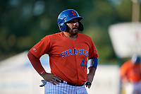 Syracuse Mets Rene Rivera (44) during an International League game against the Charlotte Knights on June 11, 2019 at NBT Bank Stadium in Syracuse, New York.  Syracuse defeated Charlotte 15-8.  (Mike Janes/Four Seam Images)