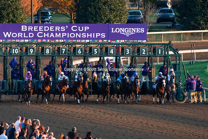 November 7, 2020 : Horses break out of the starting gate during the Longines Classic on Breeders' Cup Championship Saturday at Keeneland Race Course in Lexington, Kentucky on November 7, 2020. Scott Serio/Breeders' Cup/Eclipse Sportswire/CSM