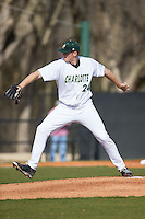 Charlotte 49ers starting pitcher Sean Geoghegan (24) in action against the Florida Atlantic Owls at Hayes Stadium on March 14, 2015 in Charlotte, North Carolina.  The Owls defeated the 49ers 8-3 in game one of a double header.  (Brian Westerholt/Four Seam Images)