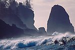 Surf kayakers, La Push, Olympic National Park, Olympic Peninsula, Washington State, Pacific Northwest, USA, Pacific Ocean, Winter storm surf at the January Surf Frolic,.