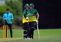 Central's Natalie Dodd (left) and Central's Jess Watkin during the women's Hallyburton Johnstone Shield cricket match between the Wellington Blaze and Central Hinds at Karori Park in Wellington, New Zealand on Sunday, 1 December 2019. Photo: Dave Lintott / lintottphoto.co.nz