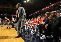 Dec. 17, 2010; Charlottesville, VA, USA; Virginia Cavaliers head coach Tony Bennett reacts to a call during the first half of the game against the Oregon Ducks at the John Paul Jones Arena. Mandatory Credit: Andrew Shurtleff-