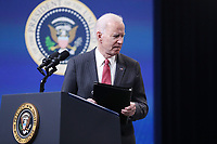 US President Joe Biden departs after delivering remarks on the US response to the coup in Myanmar, in the Eisenhower Executive Office Building (EEOB) at the White House complex, in Washington, DC, USA, 10 February 2021.<br /> CAP/MPI/RS<br /> ©RS/MPI/Capital Pictures