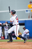 Drew Lugbauer (38) of the Danville Braves follows through on his swing against the Princeton Rays at American Legion Post 325 Field on June 25, 2017 in Danville, Virginia.  The Braves walked-off the Rays 7-6 in 11 innings.  (Brian Westerholt/Four Seam Images)