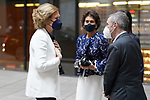 Queen Sofia of Spain (l) arrives at the closing ceremony and end-of-year concert of the Reina Sofia School of Music with Paloma O'Shea (c), Marchioness of O'Shea, pianist and President of the Reina Sofia School of Music and widow of the banker Emilio Botín. June 22, 2021. (ALTERPHOTOS/Acero)