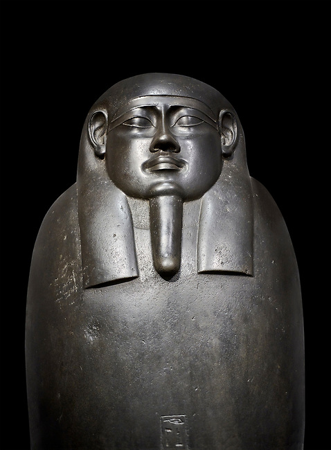 Ancient Egyptian basalt sarcophagus of royal scribe Shepman - Thebes Khokha, Tomb of Djehutymes, TT32- Early Ptolemaic Period, 19th Dynasty, 4th Cent BC. Egyptian Museum, Turin. black background<br /> <br /> The sarcophagus of Shepmin is an interesting example of Ptolemaic art with rounded contours and highly polished finish. The inscription bears the deceased name and titles.