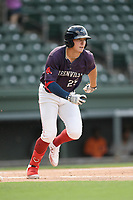 Right fielder Tyler Esplin (25) of the Greenville Drive runs out a batted ball in a game against the Delmarva Shorebirds on Friday, August 2, 2019, in the continuation of rain-shortened game begun August 1, at Fluor Field at the West End in Greenville, South Carolina. Delmarva won, 8-5. (Tom Priddy/Four Seam Images)