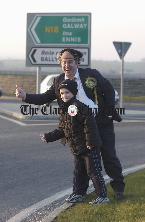 A long long way from Clare to Here......Well known politician Mossie Hickey (Pat Shortt) with Daragh McInerney hitching to Ennis for the first St...Patrick's Weekend Festival in Gl?r from March 14th-16th. PHhotograph by John Kelly.