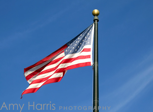 American flag waving in the wind.