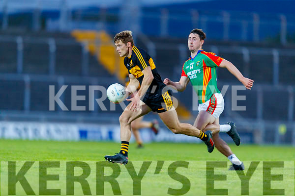 Gavin White (Captain), Dr. Crokes in action against Liam Carey, Mid Kerry during the Kerry County Senior Football Championship Semi-Final match between Mid Kerry and Dr Crokes at Austin Stack Park in Tralee, Kerry.