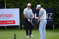Jared Edwards and Woonchul Na. Day one of the Brian Green Property Group NZ Super 6s Manawatu at Manawatu Golf Club in Palmerston North, New Zealand on Thursday, 25 February 2021. Photo: Dave Lintott / lintottphoto.co.nz