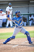 Argenis Raga (22) of the Stockton Ports throws to second base during a game against the Rancho Cucamonga Quakes at Loan Mart Field on July 16, 2017 in Rancho Cucamonga, California. Rancho Cucamonga defeated Stockton 9-1. (Larry Goren/Four Seam Images)