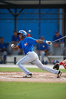 Toronto Blue Jays center fielder Reggie Pruitt (63) hits a single during an Instructional League game against the Philadelphia Phillies on October 7, 2017 at the Englebert Complex in Dunedin, Florida.  (Mike Janes/Four Seam Images)