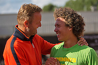 10-08-13, Netherlands, Rotterdam,  TV Victoria, Tennis, NJK 2013, National Junior Tennis Championships 2013,  Casper Bonapart is congratulated by his coach Tjerk Bogtstra after winning the boys 16 years<br /> <br /> Photo: Henk Koster