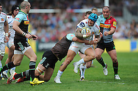 Jack Nowell of Exeter Chiefs looks for support during the Aviva Premiership match between Harlequins and Exeter Chiefs at The Twickenham Stoop on Saturday 7th May 2016 (Photo: Rob Munro/Stewart Communications)