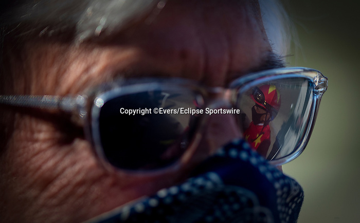 March 06, 2021: Jockey Mike Smith reflected in trainer Bob Bafferts glasse at Santa Anita Park in Arcadia, California on March 06, 2021. The two teamed up to win the 2018 Triple Crown with Justify. Evers/Eclipse Sportswire/CSM