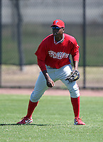 March 30, 2010:  Outfielder John Mayberry of the Philadelphia Phillies organization during Spring Training at the Carpenter Complex in Clearwater, FL.  Photo By Mike Janes/Four Seam Images