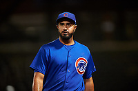AZL Cubs 1 relief pitcher Emilio Ferrebus (41) walks off the field between innings of an Arizona League game against the AZL D-backs on July 25, 2019 at Sloan Park in Mesa, Arizona. The AZL D-backs defeated the AZL Cubs 1 3-2. (Zachary Lucy/Four Seam Images)