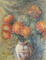 BNPS.co.uk (01202) 558833<br /> Pic: Cheffins/BNPS<br /> <br /> An accomplished watercolour painting by a 15-year-old Syd Barrett has sold for £28,000 following a bidding war - over five times its estimate.<br /> <br /> The singer-songwriter produced 'Orane Dahlias in a Vase' in 1961 while a pupil at senior school, three years before founding Pink Floyd.<br /> <br /> It is signed 'R.Barrett/Oct 1961' with the initials to his real name Roger.