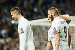 Real Madrid's Karim Benzema , Cristiano Ronaldo, Lucas Vazquez  during Champions League match between Real Madrid and Borussia Dortmund  at Santiago Bernabeu Stadium in Madrid , Spain. December 07, 2016. (ALTERPHOTOS/Rodrigo Jimenez)