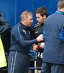 Ally McCoist has a long chat with St Mirren's Darren McGregor after the final whistle after scoring against Rangers in April 2011