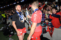 Matt Giteau of RC Toulon celebrates with Drew Mitchell of RC Toulon