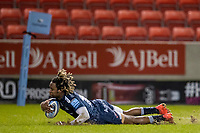 27th December 2020; AJ Bell Stadium, Salford, Lancashire, England; English Premiership Rugby, Sale Sharks versus Wasps; Marland Yarde of Sale Sharks dives over and scores a try