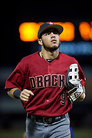 AZL Diamondbacks left fielder Didimo Bracho (9) jogs off the field between innings of the game against the AZL Cubs on August 11, 2017 at Sloan Park in Mesa, Arizona. AZL Cubs defeated the AZL Diamondbacks 7-3. (Zachary Lucy/Four Seam Images)