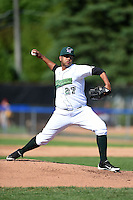 Jamestown Jammers pitcher Jose Regalado (27) delivers a pitch during a game against the Mahoning Valley Scrappers on June 15, 2014 at Russell Diethrick Park in Jamestown, New York.  Jamestown defeated Mahoning Valley 9-4.  (Mike Janes/Four Seam Images)