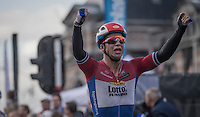 Dylan Groenewegen (NED/LottoNL-Jumbo) wins the bunch sprint of the Tour de l'Eurométropole 2016 (1.1)<br /> <br /> Poperinge › Tournai (196km)/ Belgium
