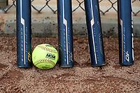 GREENSBORO, NC - MARCH 11: NCAA Softball and bats during a game between Northern Illinois and UNC Greensboro at UNCG Softball Stadium on March 11, 2020 in Greensboro, North Carolina.