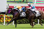 Jockey Umberto Rispoli (L) riding #8 Full of Chances during Hong Kong Racing at Sha Tin Racecourse on October 01, 2018 in Hong Kong, Hong Kong. Photo by Yu Chun Christopher Wong / Power Sport Images